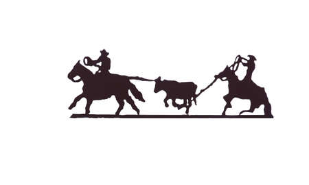 Buckaroos - cowboys with lariats roping cattle from their horses, Western art, iron work,  Wyoming, Rocky Mountain west  photo