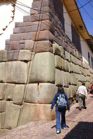 close fitting: Ancient Inca walls as foundations of modern Cusco,   Peru, South America