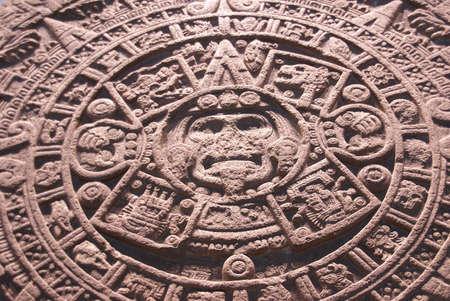 mus�e: Autel azt�que du soleil, d�tail, pr�-colombienne, le mus�e d'anthropologie, au Mexique