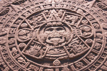 bas: Aztec altar of the sun, detail, pre-Columbian, Anthropology Museum, Mexico