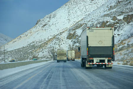 EASTERN OREGON - DEC 13 - Heavy trucks speeding on icy freeway  on Dec 13, 2008 in Eastern Oregon