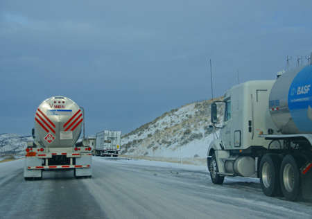EASTERN OREGON 13 DEC 2008 - Heavy trucks speeding on icy freeway,   Oregon, Pacific Northwest