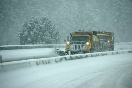 Snow plows clearing highway,   Oregon, Pacific Northwest