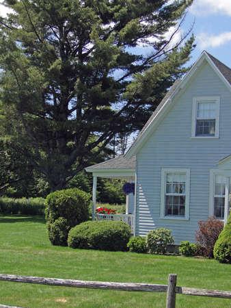 Classic  New England House,with clapboard siding, on Mount Desert Island, Acadia National park, Maine, New England                  photo