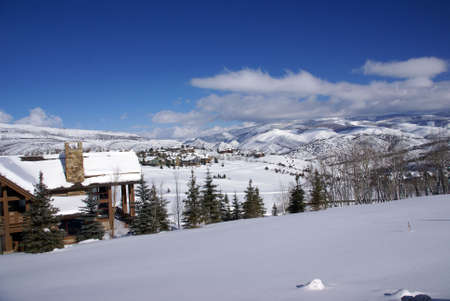 Rolling winter hills  and large homes,Cordillera,Colorado