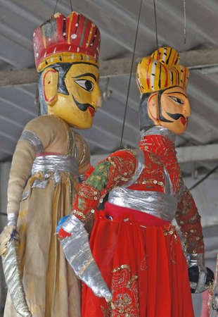rajput: Puppets and marionettes of Rajput princes  in Udaipur marketplace,  Rajasthan,  India, Asia    Stock Photo