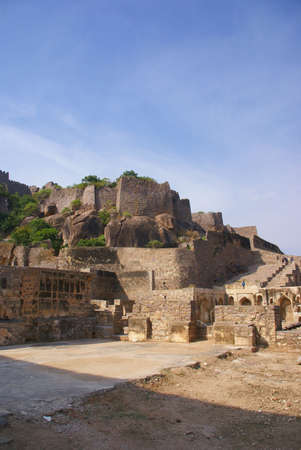 golconda: Massive citadel ruins of the  Golconda Fort,  Hyderabad, Andhra Pradesh,  India, Asia Stock Photo