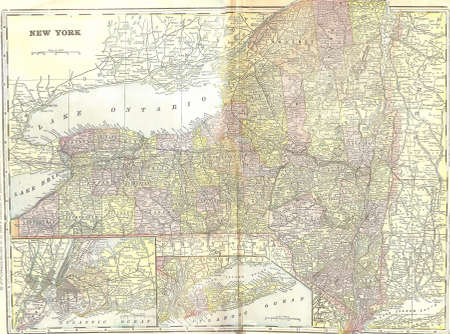 Vintage 1891 map of New York; out of copyright From old Atlas of the World