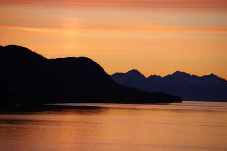 alpenglow: Mountains and sea - sunset & alpineglow, Lynn Canal,  Alaska