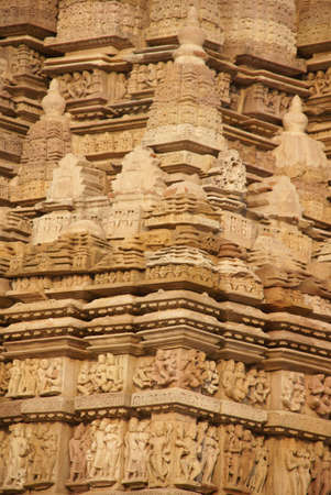 Shikara decorations on the  Parsavanatha, Jain Temple Khajuraho,  India photo