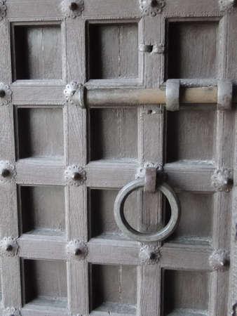 Details, old door of  Kumbhalgarh Fort in  Rajasthan,  India, Asia    photo