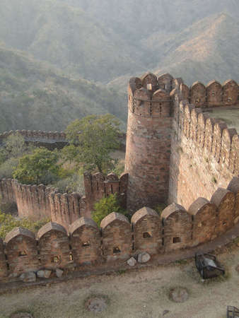 Fortified walls of  Kumbhalgarh Fort in  Rajasthan,  India, Asia