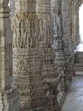 Statues of Hindu gods and goddesses  on columns  at Ranakpur in Rajasthan,                   photo
