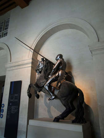 knight horse: Mounted Knight in armor, Museum of the Army, Les Invalides, Paris, France  Editorial