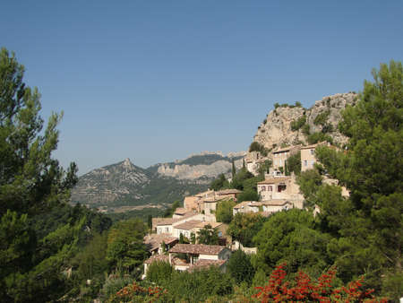 Small French hillside village of   Le Roque Alric, France   photo