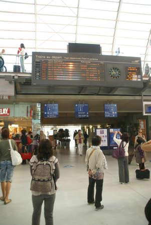 AVIGNON - OCT 3 - Passengers await the arrival of the high speed train  in TGV railway station on Oct 3, 2011, in Avignon, France.  Stock Photo - 12790526