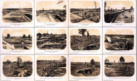 Fortifications, artillery and trenches from the Siege of Atlanta, 1864 from Atlas to Accompany the Official Records of the Union & Confederate Armies, 1861 - 1865   Editorial