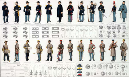 reb: Uniforms and badges of Union and Confederate cavalry officers and men  from Atlas to Accompany the Official Records of the Union & Confederate Armies, 1861 - 1865   Editorial