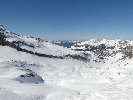 High alpine ski area in the French alps above Avoriaz, France  Stock Photo - 13358381