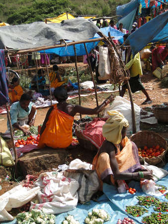 オリッサ州、インド - 11 月 13 日 - 村人は、2009 年 11 月 13 日、インド ・ オリッサにおける上毎週市場で野菜を販売.
