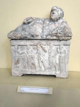 Detail, ancient Roman sarcophagus  found in Avignon, France  Editorial