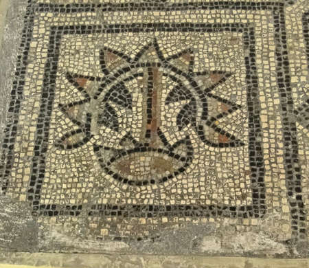 Detail, ancient Roman floor mosaic pattern  in Avignon, France photo