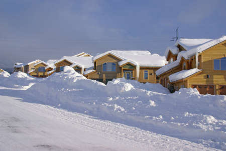 townhouses: Townhouses after heavy snowstorm,Steamboat Springs,Colorado, Rocky Mountains