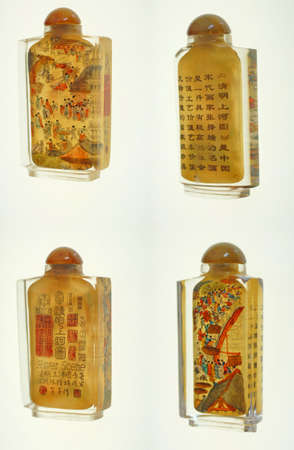 snuff: Crystal snuff bottles with inside miniature river scenes   from China