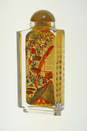 Crystal snuff bottles with inside miniature river scenes   from China