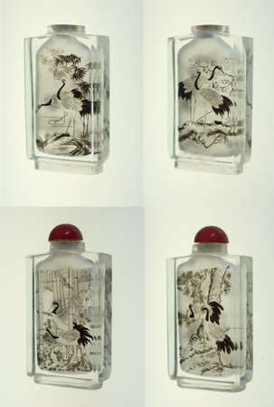 Crystal snuff bottles with  miniature painting of cranes inside  from China