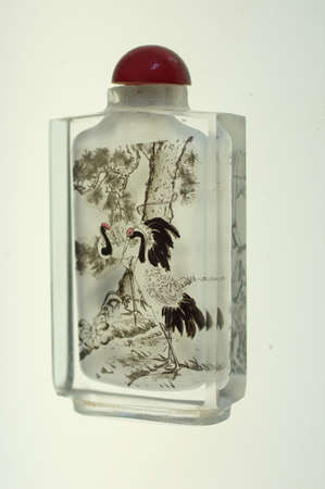Crystal snuff bottle with  miniature painting of cranes inside  from China
