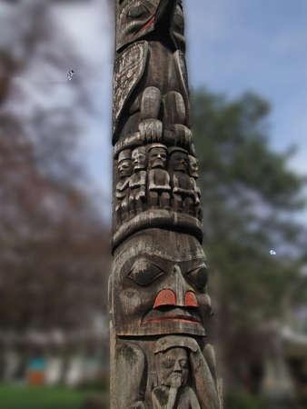 Totem pole carved from cedar, Thunderbird Park, Victoria, BC, Canada