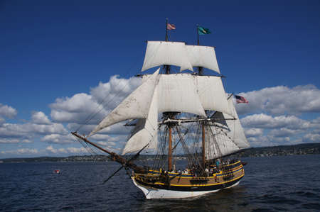 KIRKLAND, WASHINGTON - AUG 31 - The wooden brig, Lady Washington, sails on Lake Washington   as part of Labor Day festivities on Aug 31, 2012 near Kirkland , Washington.   Редакционное