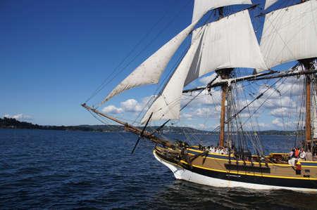 ketch: KIRKLAND, WASHINGTON - AUG 31 - The wooden brig, Lady Washington, sails on Lake Washington   as part of Labor Day festivities on Aug 31, 2012 near Kirkland , Washington.   Editorial