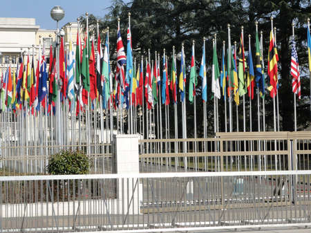Flags of many countries  at the United Nations compound Geneva, Switzerland   Editorial