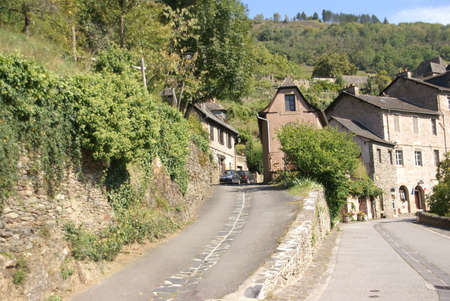 Approaching the medieval hill town  of Conques, France  Stock Photo