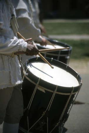 Drummers in white colonial uniforms,  Williamsburg, Virginia,