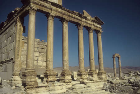 Ruined columns in the ancient city  of Palmyra, Syria, Middle East photo