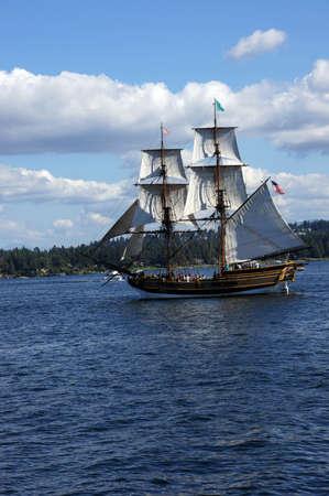 ketch: KIRKLAND, WASHINGTON - AUG 31 - The wooden brig, Lady Washington, sails on Lake Washington    during a mock sea battle as part of Labor Day festivities on Aug 31, 2012 near Kirkland , Washington.   Editorial