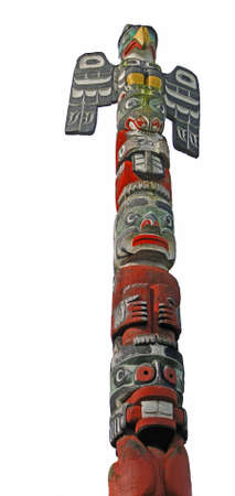 the totem pole: Totem pole topped  by thunderbird, Thunderbird Park, Victoria, BC, Canada  Stock Photo