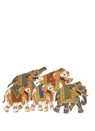 Caparisoned elephants on parade. Indian miniature painting    Udaipur, India   Stock Photo