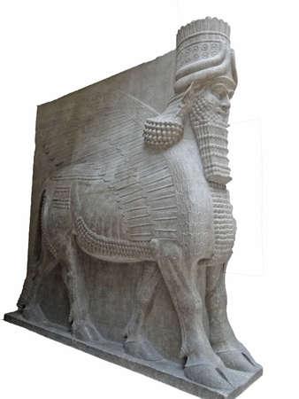 babylonian: Bestia m�tica de Asiria, Museo del Louvre, Par�s, Francia Editorial