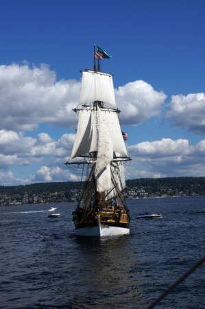 ketch: Two masted tall ship sails on Lake Washington