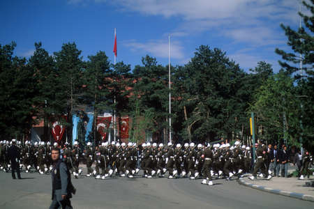 ERZERUM, TURKEY - 19 MAY - Military honor guard parades at Turkish Independence day celebrations, on May 19, 1999  in Erzerum, Turkey.