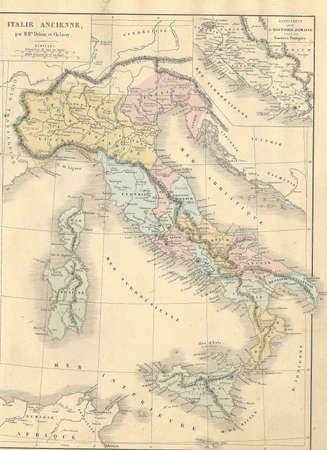 Antieke kaart van Ancient Italië from1869 - Atlas Universel et Classique de Geographie, door Mm. Droux et Ch. Leroy, Uitgever: Paris: Librairie Classique d'Eugene Belin Redactioneel