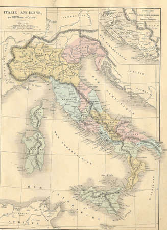 italy map: Antique map of Ancient Italy from1869 - Atlas Universel et Classique de Geographie, by Mm. Droux et Ch. Leroy, Publisher: Paris: Librairie Classique dEugene Belin