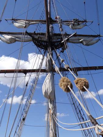 ketch: KIRKLAND, WASHINGTON - AUG 31 - Crew adjust the rigging and sails of the Lady Washington  as part of Labor Day festivities on Aug 31, 2012 near Kirkland , Washington.   Editorial