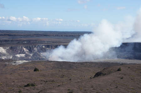 Steam plume rising from active volcano vent of Kilauea crater in Hawaii Volcano National Park,  Hawaii