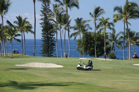 kona: KONA, HAWAII - NOV 14 - Unidentified golfers enjoy a game of golf  while taking a break from the mainland cold weather  on Nov 14, 2012 near Kona, Hawaii.