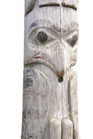 tlingit: Traditional native totem pole  in Prince Rupert, British Columbia,Canada